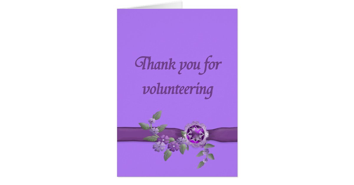 Thank You for Volunteering, Purple Card | Zazzle