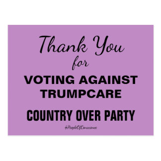 Thank You For Voting Against TrumpCare Resist Postcard