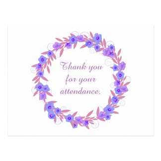 Thank you for your attendance purple floral postcard