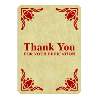 thank you for your dedication 5x7 paper invitation card