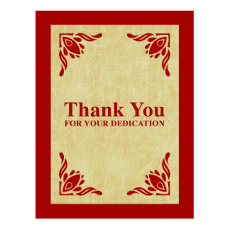 thank you for your dedication postcard