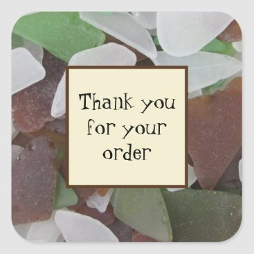 Thank You for Your Order Business Sea Glass Photo Square Sticker