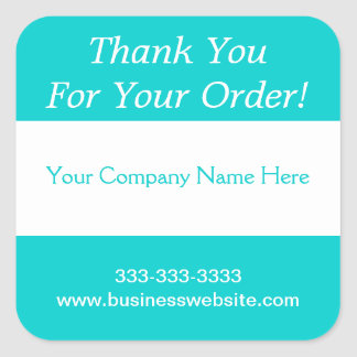 Thank You For Your Order Business Turquoise Stripe Square Sticker