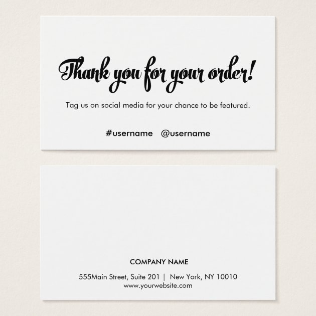 Thank You for your Order Customer Loyalty Business Card