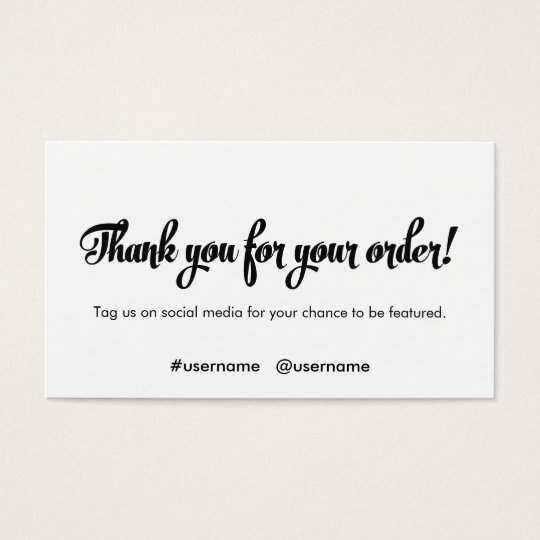 Thank you for your order customer loyalty business card for Thank you cards for business customers