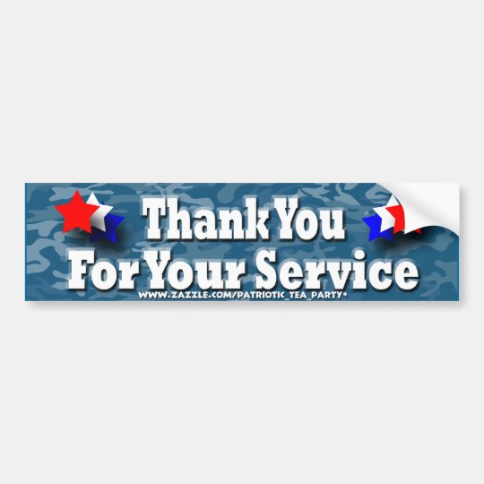Thank you For Your Service Bumper Sticker