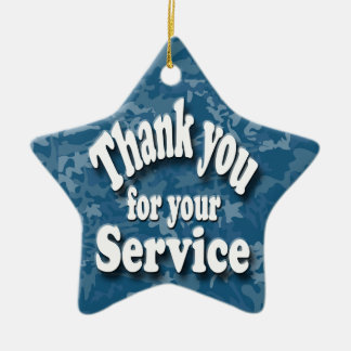 """""""thank you for your service Double-Sided star ceramic christmas ornament"""