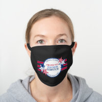 Thank You for Your Service Essential Workers Stars Black Cotton Face Mask