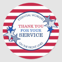 Thank You for Your Service Essential Workers Stars Classic Round Sticker