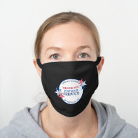 Thank You for Your Service Essential Workers USA Black Cotton Face Mask