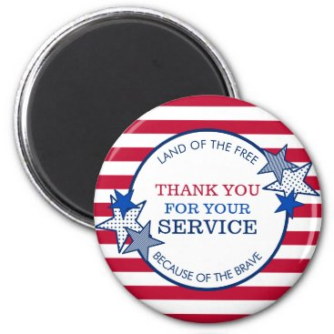 Thank You for Your Service Veterans Stars Stripes Magnet