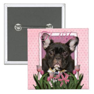 Thank You - French  Bulldog - Teal Pinback Button