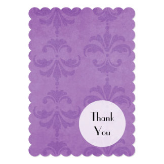 Thank You - French Damask, Ornaments - Purple 5x7 Paper Invitation Card