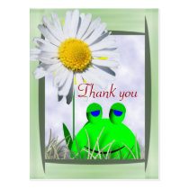 Thank you frog and daisy postcard