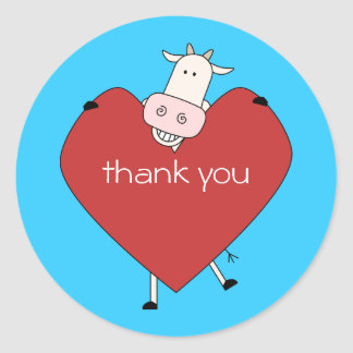 Thank You from Cow Classic Round Sticker