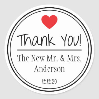 Thank You From The New Mr. & Mrs. (Red / Black) Classic Round Sticker