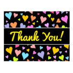 "[ Thumbnail: ""Thank You!""; Fun, Loving, Colorful Hearts Pattern Postcard ]"