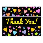"[ Thumbnail: ""Thank You!""; Fun, Loving, Colorful Hearts Pattern Postcard ]"