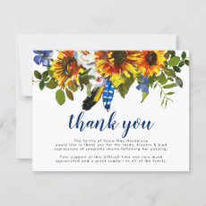 Thank You Funeral Note | Memorial Sunflowers