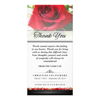 Thank You Funeral Red Rose - Words Cannot Express Photo Card