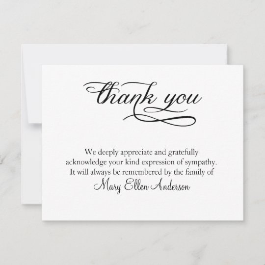 thank you funeral thank you note card behreavement - Thank You Note Cards