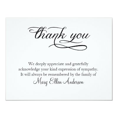 Watercolor Roses Memorial Funeral Thank You Card  ZazzleCom