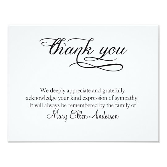 Thank You Funeral Thank You Note Card Behreavement  Invitation For Funeral