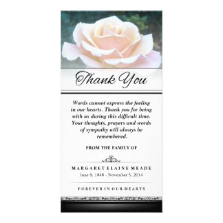 Thank You Funeral White Rose Words Cannot Express Photo Card