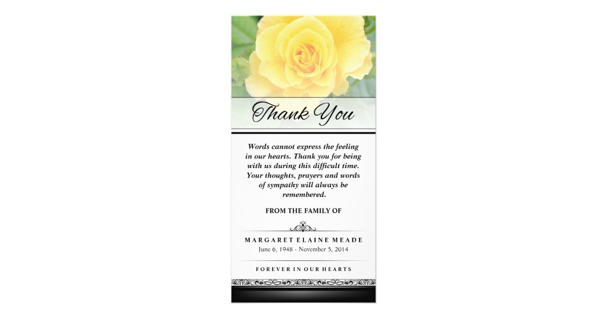 Thank You Funeral Yellow Rose Words Cannot Express Card ...