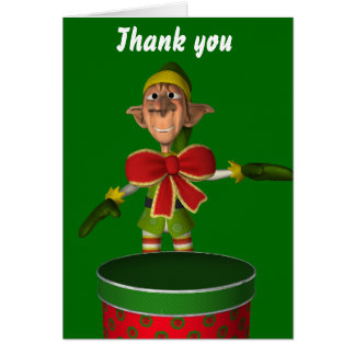 Thank you. Funny elf with bow and cake tin Card