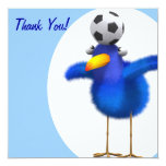 Thank You! Fuzzy Bluebird Soccer Personalized Invites