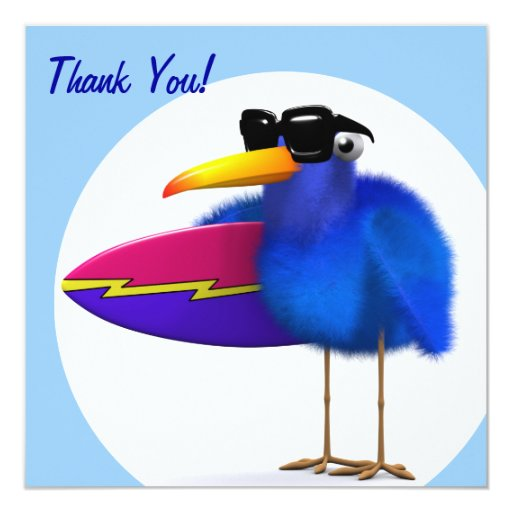 Thank You! Fuzzy Bluebird Surfer Card