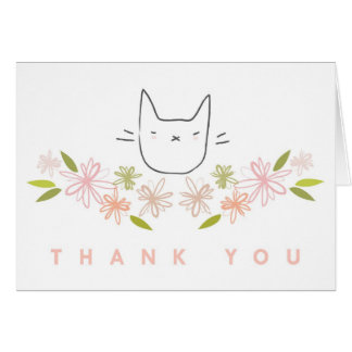 """Thank You"" Garden Cat in the Chrysanthemums Card"