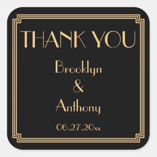 Thank You Gatsby Art Deco Black Wedding Stickers