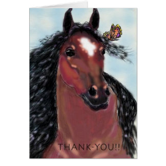 Thank-You Gelding and Butterfly Greeting Card