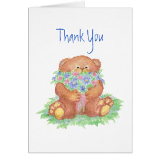 Thank You, General, Flowers &  Teddy Bear Card