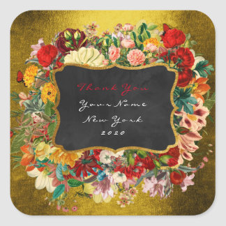 Thank You Gift Baroque Gold Mustard Roses Floral Square Sticker