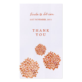 Wedding Gift Thank You Cards Pack : Fall Wedding Thank You Business Cards and Business Card Templates ...