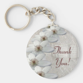 Thank You Gift - Key Chain White Lace and Flowers