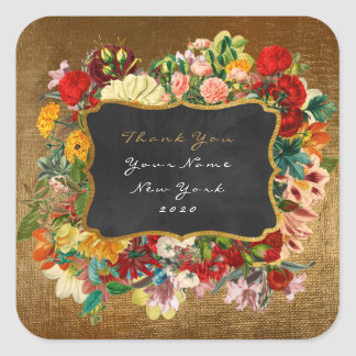 Thank You Gift Label Gold Glitter Vip Roses Floral