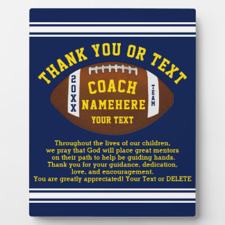 Thank You Gifts for Football Coaches, Your Text Plaque