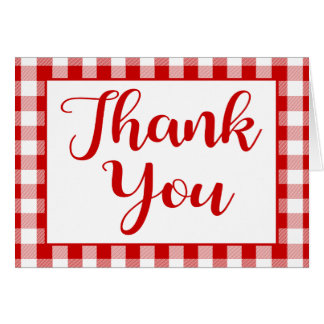 Thank You Gingham Red White Checks Wedding, Party Card
