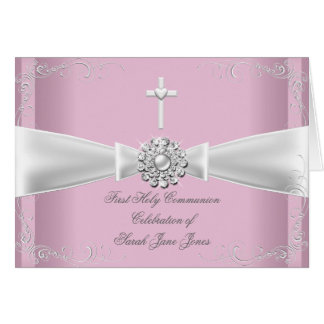 Thank You Girl First Holy Communion pink White Card