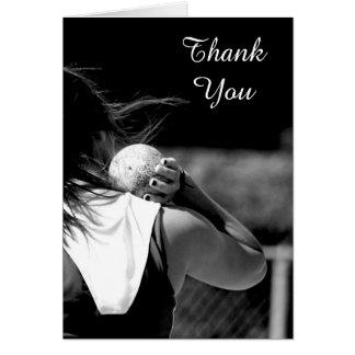 Thank You Girl Shotput greeting card