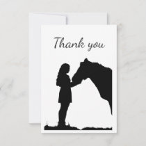 Thank You Girl with Horse Equestrian Farm Animal