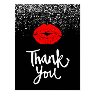 thank you glam red lips on faux black glitter postcard