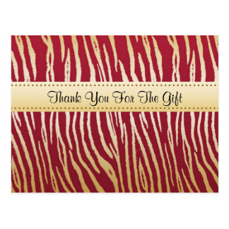Thank You Glamorous Red and Gold Tiger Stripes Postcard