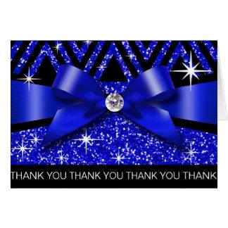 Thank you Glitter Chevron Bling Diamond sapphire Greeting Card