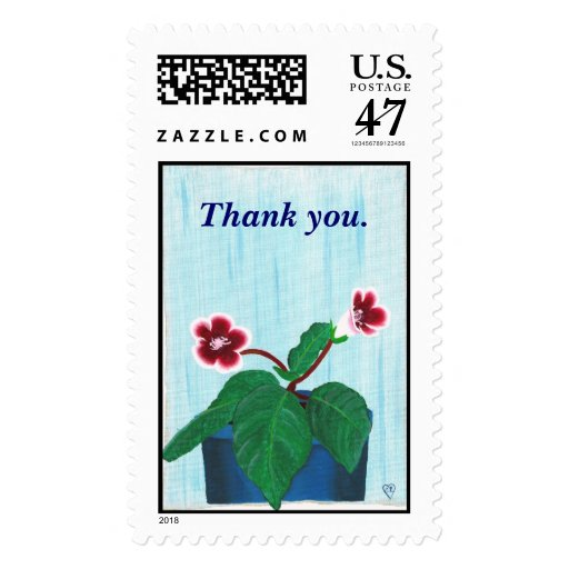 Thank you, Gloxinia Flower Postage Stamps