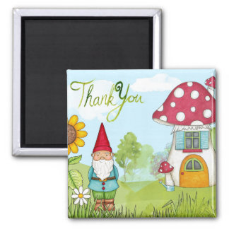 Thank You Gnome 2 Inch Square Magnet